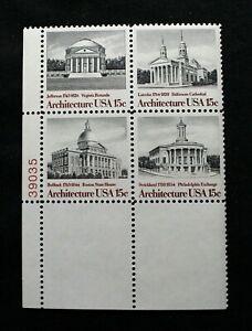 US Plate Blocks Stamp Scott #1779-82 1979 15¢ American Architecture MNH RP05