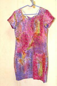 12 L VTG Silk Shift Tunic Top Womens S/S Hand Made Anarkali India Salwar Kameez