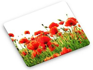 Glass Worktop Saver Kitchen Chopping Board Oil Painting Flowers Poppies 60x52