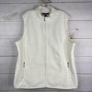 Karen Scott Zeroproof Fleece Women's Plus 1X Zip Pocket Vest Full Zip Cream NWT