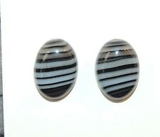 Black and White Agate 10x14mm with 5mm dome Cabochons Set of 2 (8512)