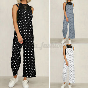 SIZE Women Polka Dot Playsuit Strappy Wide Leg Jumpsuit Summer Beach Party Pants