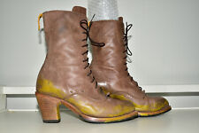 Pskaufman Distressed Leather Lace Up Heel Boot Women 10