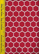 QUILT FABRIC: 100% COTTON, RED TOMATOE HONEYCOMB, By The Yard