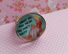 Knitting Crafter Knit Image Silver Tone Adjustable Ring Vintage Quote