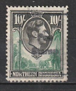 "1938 Northern Rhodesia S.G.44 10/- Green & Black.Fine ""FEE STAMP"" Revenue Used."