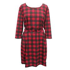 b35d7cb651c Women Red Tartan Check Print 3 4 Sleeve Casual Swing Ladies Big Size Dress  18