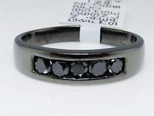 Mens Black Gold Finish Black Diamond 5 MM Wedding Engagement Band Ring .65 Ct