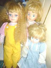 Lote de 3 Muñecas De Porcelana De Gran Tamaño, Vintage, rubia, ojos azules Classique, Leonardo