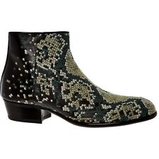 MAISON MARTIN MARGIELA Black Green Embroidered Leather Boots Shoes UK8 US9 EU42