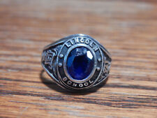 Vintage Sterling Silver Blue Stone Lincoln School 1971 Class Ring Sz 10.5