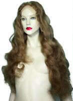 HUMAN HAIR Indian Front Lace Wig Remi Remy Medium Light Brown #11 Curly Wavy