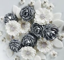 Silver and White Roses Bouquet Handmade Wedding Flowers Cake Topper