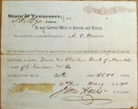 Shelby County (Memphis), TN 1870 Summons/Court Document - Union & Planters Bank