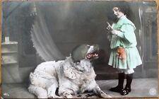 St./Saint Bernard Dog & Little Girl 1906 Realphoto French Fantasy Postcard