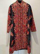 Silk Kashmiri long coat jacket fine crewel embroidery