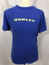 OAKLEY Mens Short Sleeve Graphic Logo T Shirt Sz MEDIUM Blue Yellow Screen Print