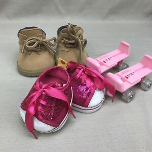 Build-a Bear Roller Skates Pink Glitter Shoes & Brown Hiking Boots