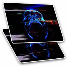 2 x Rectangle Stickers 7.5 cm - Digital Glitch Art Neon Skill Cool Gift #21459