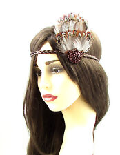 Brown native american feather coiffure red indian headband pocahontas boho 620