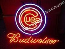 RARE Chicago Cubs Baseball MLB Budweiser NEON SIGN BEER BAR LIGHT Free Shipping