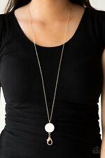 NEW Paparazzi necklace jewelry set SHIMMERING SEASHORES gold lanyard pendant