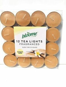 Pack of 12 Bloome Scented Tealights- Indulgent Vanilla