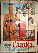 manifesto 4F originale L'AMICA Alberto Lattuada Jean Sorel Lisa Gastoni anni '70
