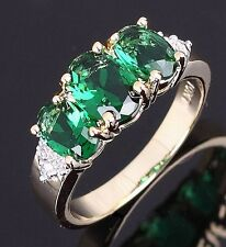 Simple Size 8 Luxury Emerald Solitaire Band 10KT Gold Filled Rings For Ladies