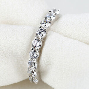 Wedding Engagement Band Eternity Ring For Women Round Cz Sterling Silver Size 7