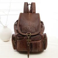 Women's Vintage Leather Drawstring Backpack Student's School Bag Travel Backpack