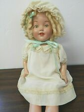 """Vintage/Antique 24"""" Composition Mama Doll in Silk Dress, Repainted, Needs Tlc"""