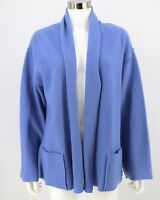 Chico's Cardigan Size 1 Medium Light Blue 100% Wool Open Front Sweater Womens