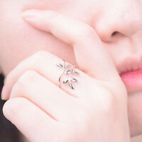Hot Fashion Women Girl Silver Plated Leaf Open Finger Ring Jewelry