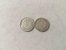 2 pièces de 20 Cent en argent Napoléon III Tête Nue 1854A / 1858A - TTB