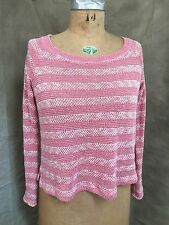 Womens SPLENDID PINK Cotton Blend SWEATER Marled Striped Textured Small S USA