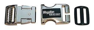 Chrome RydeWear aluminum motorcycle helmet quick release chin strap buckle