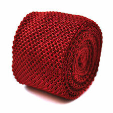Knitted Plain Red Mens Tie by Frederick Thomas FT276