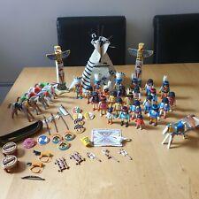 Playmobil Big Native American Bundle 42 Figures Horses Canoe Totem Poles