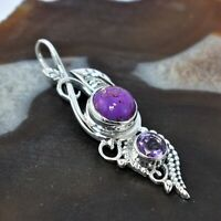 Copper Purple Turquoise Amethyst Pendant 92.5 Sterling Silver 2""