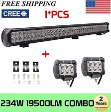 36INCH 234W CREE LED Light Bar Combo Beam Offroad Jeep SUV+2X18W 4inch Spot