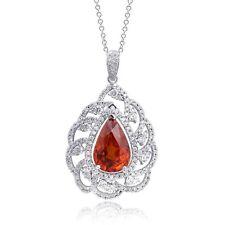 Natural Mandarin Garnet 11.90 carats set in 14K White Gold Necklace