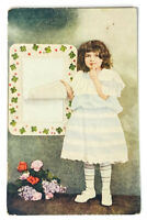 RARE 1911 POSTCARD about OGDENSBURG NY LITTLE GIRL IN DRESS FLOWERS Creepy Child