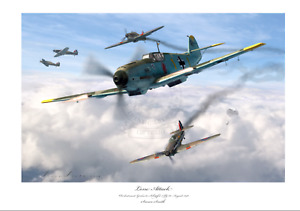 BATTLE OF BRITAIN FIGHTER ACE Schöpfel BF109E JG2 LIMITED EDITION SIGNED PRINT