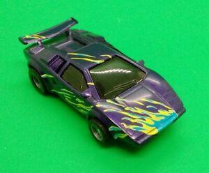 Tyco Vintage 440x2 Lamborghini HO scale slot car purple w/flames