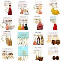6Pairs Korean Style Women Earrings Set Tassel Crystal Pearl Dangle Hook Ear Stud