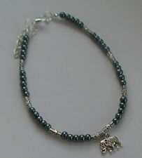 NEW Silver Grey Glass Pearls Charm Anklet Any Charm Elephant Owl Starfish Etc