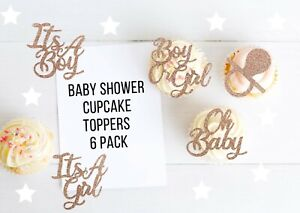 Baby Shower Cupcake Toppers Boy or Girl Glitter Gender Reveal Decoration x6