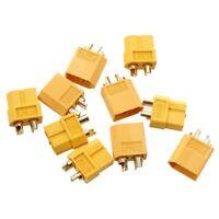5 Paar Nylon XT60 T-Plug Lipo Hochstrom Stecker Buchse RC Set Goldstecker Adapte