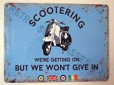 LAMBRETTA, VESPA, SCOOTER OWNER GARAGE TIN PLATE SIGN, SMALL 200mm x 150mm GIFT